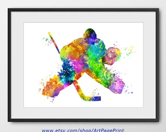 Hockey Print, Hockey Goalkeeper Watercolor Print, Hockey Player, Sport Wall Art, Sport Poster, Hockey Decor, Hockey Abstract (A0269)