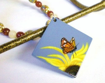 Sunflower and Monarch Butterfly Pendant, Hand Painted Butterfly Necklace, Nature Jewelry, Blue and Brown Painted Wood Beads, Garden Jewelry