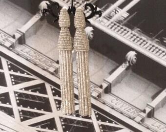 silver tassel earrings Long tassel earrings beaded  Earrings in the style of Oscar De La Renta