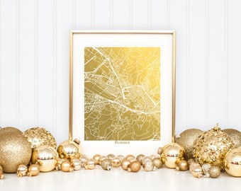 Florence Map, Map of Florence Italy, Gold Foil Print, Gold Foil Map Print, Gold Map, Florence Italy Map Art, Map Wall Art, Map, Gold Decor