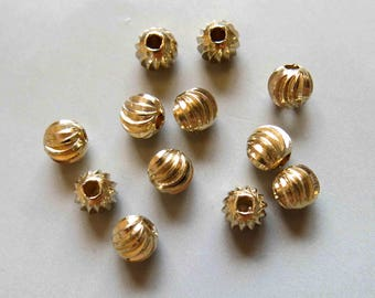 50pcs Raw Brass Round Carved Beads Spacer Beads 7mmx6.5mm - F360