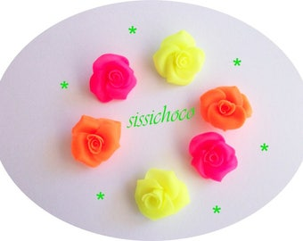 fluorescent (set of 6) cold porcelain flower beads