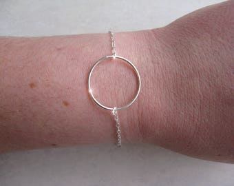 Bracelet circle ring - 925 sterling silver or plated 14 k gold