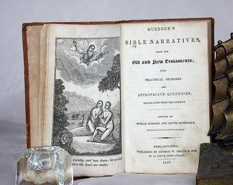 Huebner's Bible Narratives - Antique Bible Story Book - Illustrated Bible Story Book - Bible Woodcut Illustrations - Antique Woodcut Prints