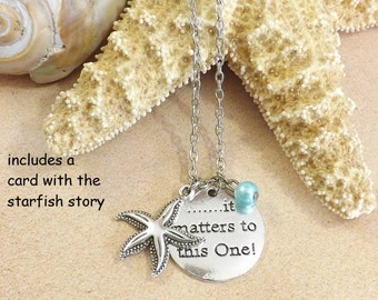 Starfish Necklace, Teacher Gift, It Matters To This One, Starfish Story, Make a Difference, Beach Jewelry, Social Worker, Adoption Necklace