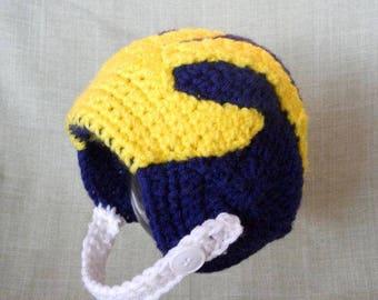 University Of Michigan Inspired Crochet Baby Football Helmet Hat - Newborn, 0-3 Month, 3-6 Month, 6-12 Month Sizes