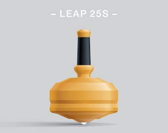 LEAP 25S Yellow – Spin top with ceramic tip and rubber grip