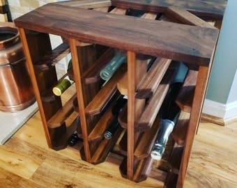 Handmade Walnut 12 Bottle Wine Rack