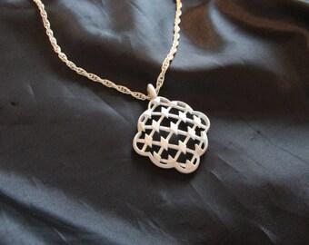 Trifari White Enamel Necklace