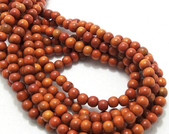 Sibucao Wood, 6mm, Round, Small, Smooth, Natural Redwood Beads, Full 16 Inch Strand, 72pcs - ID 1401