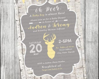Oh Deer, Woodland Baby Shower Invitation