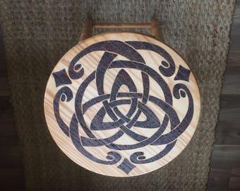 Woodburned pyrography Celtic/Scottish wooden stool