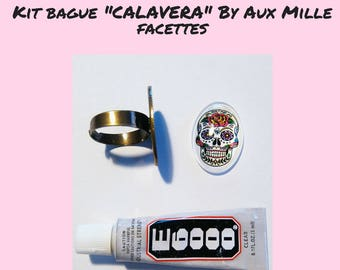 "Kit DIY thousand faceted ring ""CALAVERA"" cabochon 25x18mm"