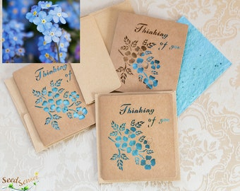Seed paper forget-me-not card, myosotis seed paper card, blue cut out card handmade seedpaper, eco friendly plantable gift kraft paper
