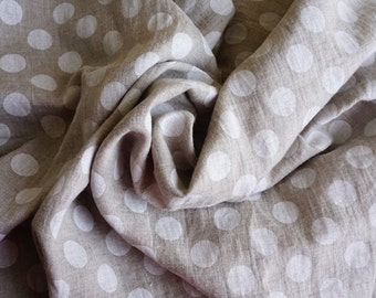 POLKA DOTS#Linen White dots on natural background#pure linen#soft#apparel