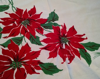 Poinsettia Design Tablecloth Christmas Holiday Linens  Retro Table Decor Christmas Decorations