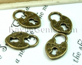 Antique Brass French Dior Lock Charms - 6pcs