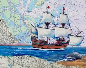 Mayflower  nautical chart art print ( Pilgrim plantation 1620 state pier plymouth harbor Plymouth MA)