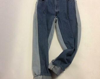 2 Toned Levi Custom Weathered Boyfriend Jeans Sz 35