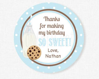 Milk and Cookies Favor Tags, Chocolate Chip Cookie Party Favors, Cookies and Milk Tags, Boy Birthday Favor Tags, Personalized