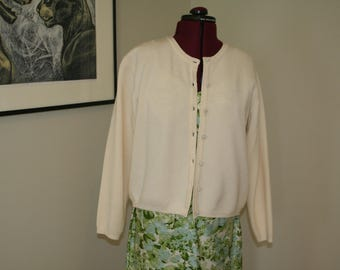 80s does 50s cream pearl wool cardigan sweater S M