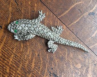 Vintage lizard rhinestone brooch