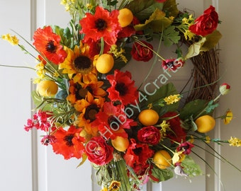 Door Wreath, Fall Summer Wreath, Poppy Flowers Lemons Sunflowers Wreath, Tuscany Summer Wreath, Large Wreath