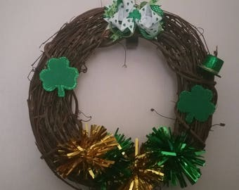 ON SALE St Patrick's Day Wreath-St Paddy's Day Wreath-St Patrick's Day Themed Grapevine Wreath