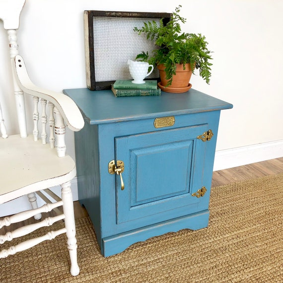Blue Farmhouse Nightstand - Vintage Ice Box Bedside Cabinet - Country Cottage Furniture - Distressed Side Table - Painted End Table -