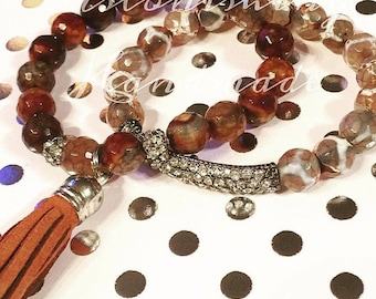 Clearance - Brown Tassle Glitz Gemstone Bracelet Set