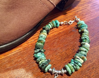 Natural african turquoise bracelet, feather bracelet