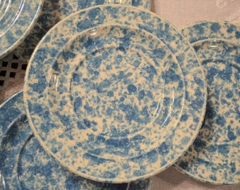 Vintage Homer Laughlin Blue Splatterware Saucer Dish Set of 7  Spongeware Country Farmhouse Replacement USA PanchosPorch