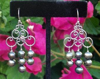 Green Pearl Filigree Chandelier  Earrings