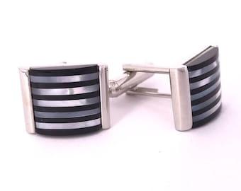 Black Stripes Mother of Pearl Cufflinks
