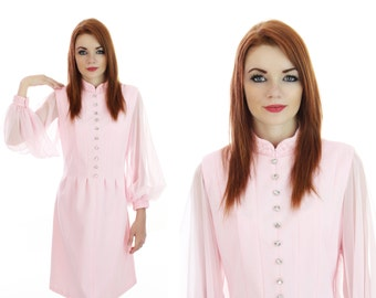 60s Mod Formal Dress 1960s Vintage Mad Men Pink With Sheer Sleeves Rhinestone Buttons Embroidered Trim Mini Small S Medium M