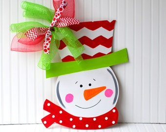 Door Hanger: Snowman, Christmas Decor, Christmas Door Hanger, Holiday Decor, Chevron Christmas