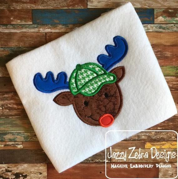 Reindeer With Ball Cap Appliqué embroidery Design - Reindeer Appliqué Design - boy Appliqué Design - Christmas Appliqué Design