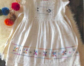 Bohemian Baby, Baby Fashion, Boho Kids, Hippie Baby Dress, Natural Cotton Dress, Ethnic Dress, Baby Dress, Embroidered Dress