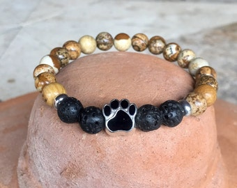 Picture jasper and lava stone gemstone yoga bracelet with dog paw center bead.