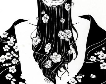 "PREORDER - Illustration Print ""Plum Blossum"" - Digital Lazer Print from Ink Painting"