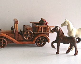 Vintage Hand Crafted Wooden Toy Fire Truck Engine - Moving Wheels