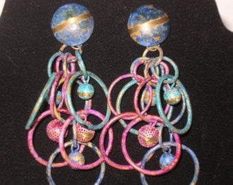Vintage Earrings of Blues and Purples Hoops SALE PRICED