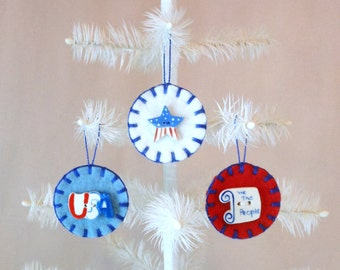 Penny Rug Ornaments with Patriotic Ceramic Buttons - Set of 3