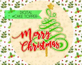Digital Christmas Cake Topper