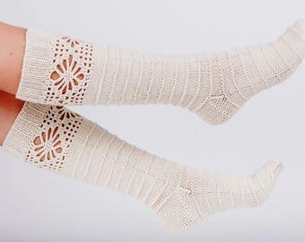 Wool socks. Knitted wool socks. House socks. Lace boot socks. Winter fashion. Gift present.
