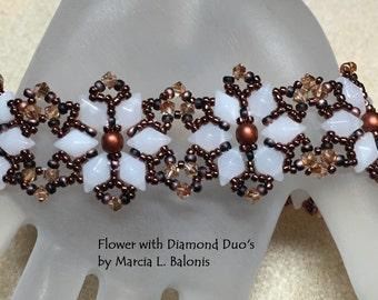 PATTERN Diamond Duo Bouquet bracelet Tutorial