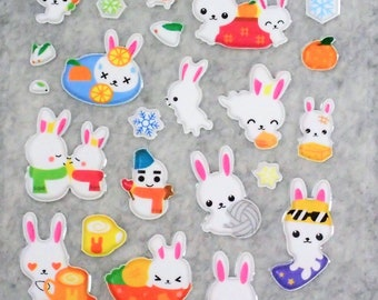 Mixed Sweet Puffy Cute Happy Bunny Stickers