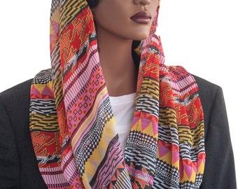 Kaatnu Veil™ Bold Stripes Chiffon Christian Scarf Catholic Veil Modest Headcovering Chapel Veil Prayer Veil Church Hair Covering Handmade
