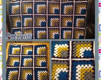 Crochet Mitred Granny Square Throw.