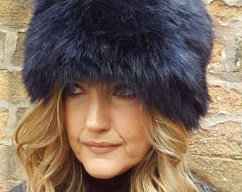 Midnight Blue Faux Fur Hat with Cosy Polar Fleece Lining
